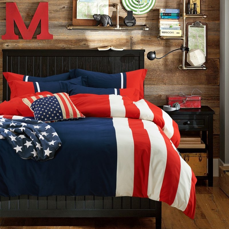 Dark Blue Red and White the Old Glory the Stars and the Stripes The American flag Print Full, Queen Size Bedding Sets