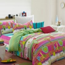 Hot Pink Mint Green and White Cute Fruit Apple Print with Multi-Stripe Girls Princess Full Size Bedding Sets