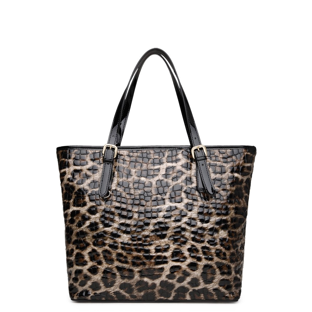 Chocolate Brown and Light Tan Cowhide Patent Leather Embossed Alligator Crocodile Leopard Print Vogue Boutique Casual Large Bucket Tote Bag