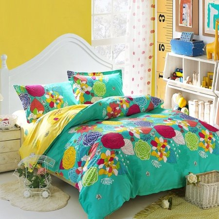 Turquoise Yellow and Red Bright Colorful Nature Floral Garden Vintage Oriental Style 100% Cotton Full Size Bedding Sets