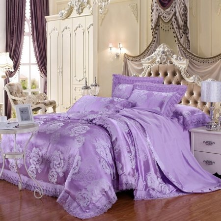 Lilac and Gray Rustic Chic Paisley Park Flower Garden Luxury Exotic Unique Lace Edge Jacquard Design Girls Full, Queen Size Bedding Sets