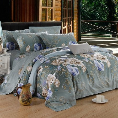 Blue-gray and Beige Folklore Flower Pattern Asian Inspired Noble Excellence Rustic Luxury 100% Egyptian Cotton Full, Queen Size Bedding Sets