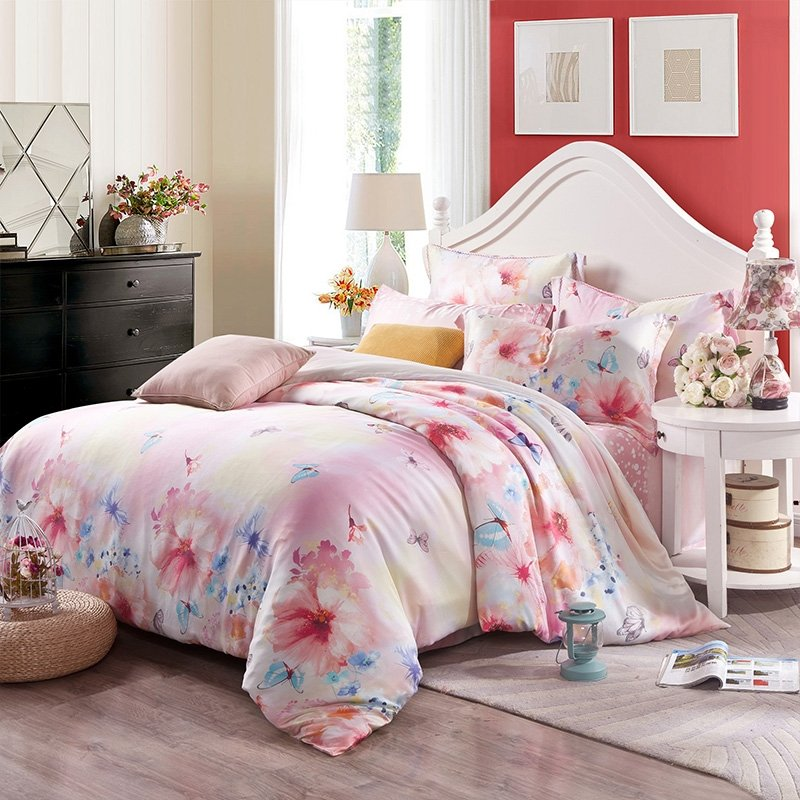 Peach Pink and Blue Bright Butterfly and Flower Print Garden Images Oriental Asian Inspired Nature 100% Tencel Full, Queen Size Bedding Sets