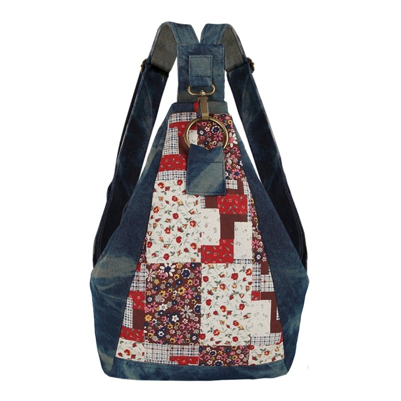 Denim Blue Red and White Retro Mediterranean Vogue Preppy Style Plaid and Kumala Rose Print Jean Girls Casual Satchel Backpack Travel Bag