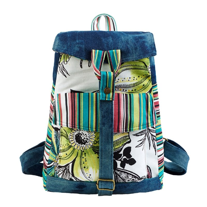 Denim Blue White and Yellow-green Multi-Color Pinstripe and Asian Lily Print Personalized Jean Medium Teen Girls Travel Bag Satchel Backpack