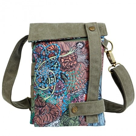 Olive Green True Blue and Pale Pink Bohemian Chic Abstract Flower Print Indian Ethnic Pattern Casual Canvas Draw String Women Crossbody Bag