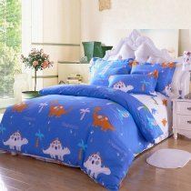 Royal Blue Orange and White Safari Animal Themed Kids Dinosaur Print with Palm Tree Full Size Bedding Sets