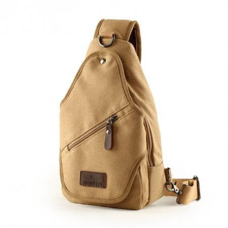 Khaki Brown Canvas Chest Bag Mitoshop Vogue Trendy Personalized Casual Outdoor Travel Bag Zipper Applique Boys Men Medium Crossbody Bag