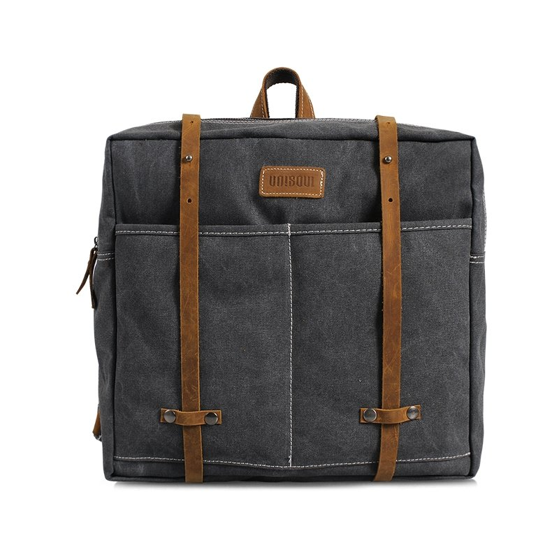 Dark Gray Sewing Pattern Canvas Preppy Style Satchel Backpack Personalized Japanese Style Casual Zipper Girl Medium Box Shaped School Bag