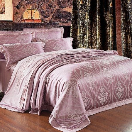 Thulian Pink and Grey Indian Tribal Print Rococo Pattern Retro Style Jacquard Design 100% Cotton Satin Full, Queen Size Bedding Sets