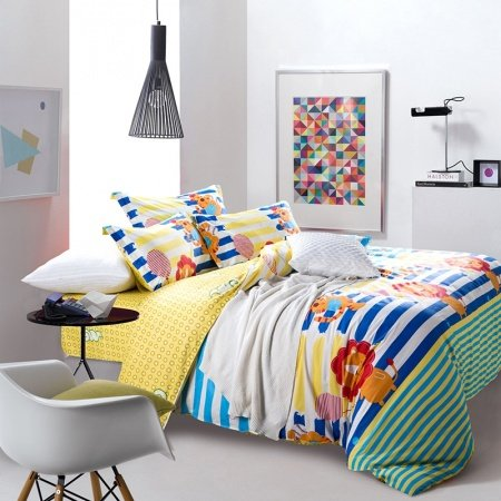 Blue Yellow and Orange Jungle Animal Lion and Tiger Print Cartoon Cute Style Kids and Teen 100% Cotton Twin, Full Size Bedding Sets
