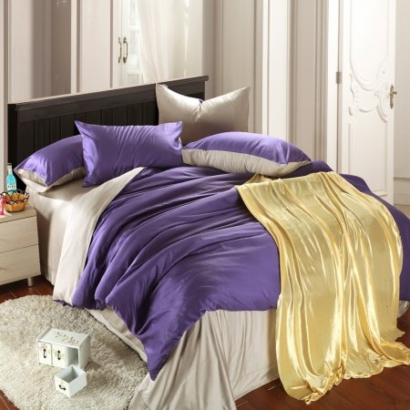 Plain Violet and Solid Gray Simply Chic Noble Excellence Luxury Color Block Fashion Unique 100% Tencel Full, Queen Size Bedding Sets