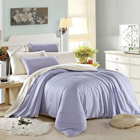 Plain Light Blue and Pure Beige with Solid Colored Sheet Color Block Simply Chic Luxury Adults 100% Tencel Full, Queen Size Bedding Sets