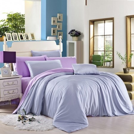 Light Blue and Light Purple Pure Colored Fashion Color Block Simply Chic Elegant Unique Adults 100% Tencel Full, Queen Size Bedding Sets