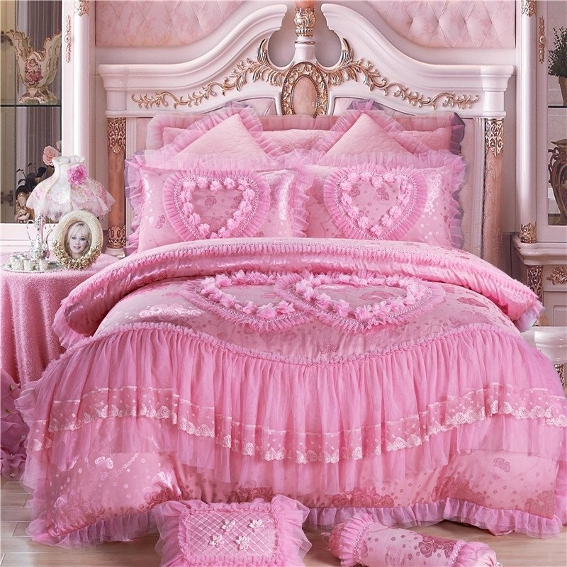 Girls Candy Pink Princess Style Heart and Rose Pattern Victorian Lace Embroidered Design Pastel Style Full, Queen Size Bedding Sets
