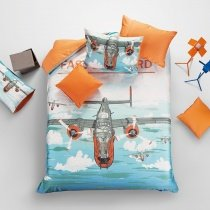 Sky Blue Burnt Orange and Grey Flying Airplane Print Sport Style 100% Cotton Kids, Teens, Boys Twin, Full, Queen Size Bedding Sets
