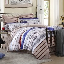 White Grey and Blue Medallion Print Stripe Masculine Style Traditional Boys 100% Cotton Full, Queen Size Bedding Sets
