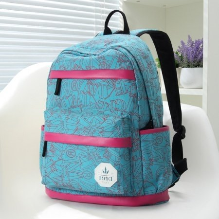 Ruby Red and Aqua Blue Durable Canvas with Leather Trim Women Travel Backpack Boutique Monogrammed Printed Girls School Bag