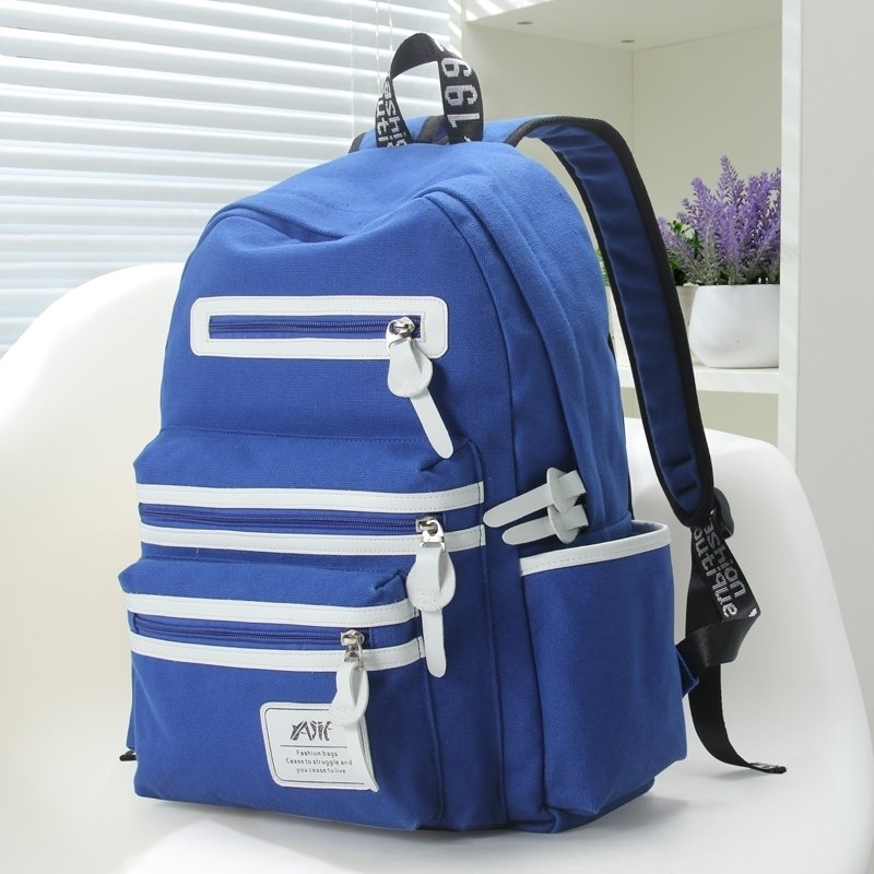 Water-proof Sapphire Blue Canvas with White Leather Trim Cute School Backpack Vogue Elegant Color Blocking Women Travel Bag