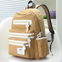 Camel Brown Canvas with White Leather Trim Color Blocking Girls School Backpack Contracted Sewing Pattern Quilted Travel Bag