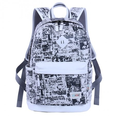 Black Canvas with White Leather Trim Women Travel Backpack Preppy Style School Bag Monogrammed Graffiti Print 14 Inch Laptop Bag