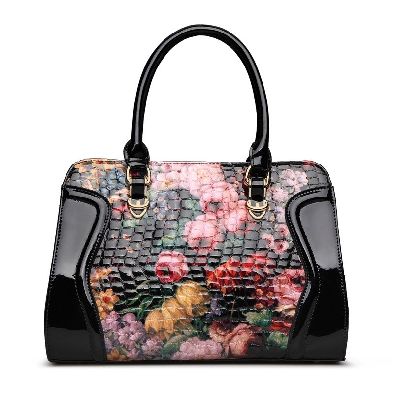 Black Pink Yellow English Rose Embossed Crocodile Boston Tote Durable Cowhide Genuine Leather Quilted Casual Women Crossbody Purse