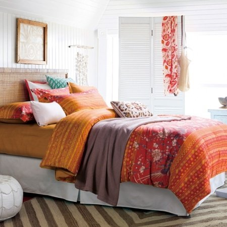 Rust Orange Red and Yellow Folk Pattern Stripe Print Shabby Chic Linen Southwestern Style 100% Cotton Full Size Bedding Sets