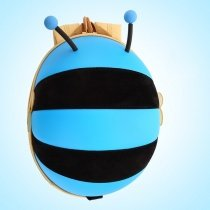 Personalized Cute Animal Bee-shaped Toddler Boys Book Bag Contracted Stylish Sky Blue Black Rugby Stripe School Backpack with Zipper