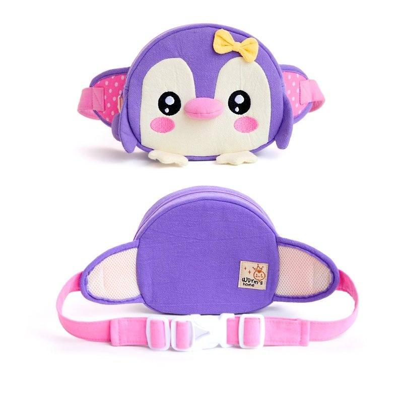 Personalized Animal Penguin Head-shaped with Cute Bow Girls Small Waist Pack Violet-purple Cotton Casual Travel Crossbody Chest Bag
