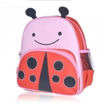 Unique Ladybug-shaped Toddler School Backpack Coral Red Pink Durable Lightweight Nylon Cute Animal Stylish Girls Preppy Book Bag