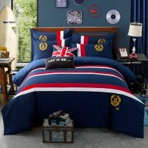 Navy Blue Red and White Nautical Stripe and Medallion Print Traditional Masculine Style 100% Cotton Twin, Full, Queen Size Bedding Sets