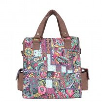 Stylish Durable Canvas Casual Women Tote Gorgeous Personalized Bohemian Indian Tribal and Colorful Floral Print Crossbody Shoulder Bag