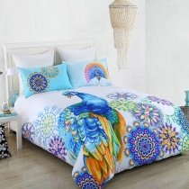 Peacock Blue Orange Purple and White Peacock Design Eclectic Style Exotic Bohemian Style 100% Cotton Full, Queen Size Bedding Sets