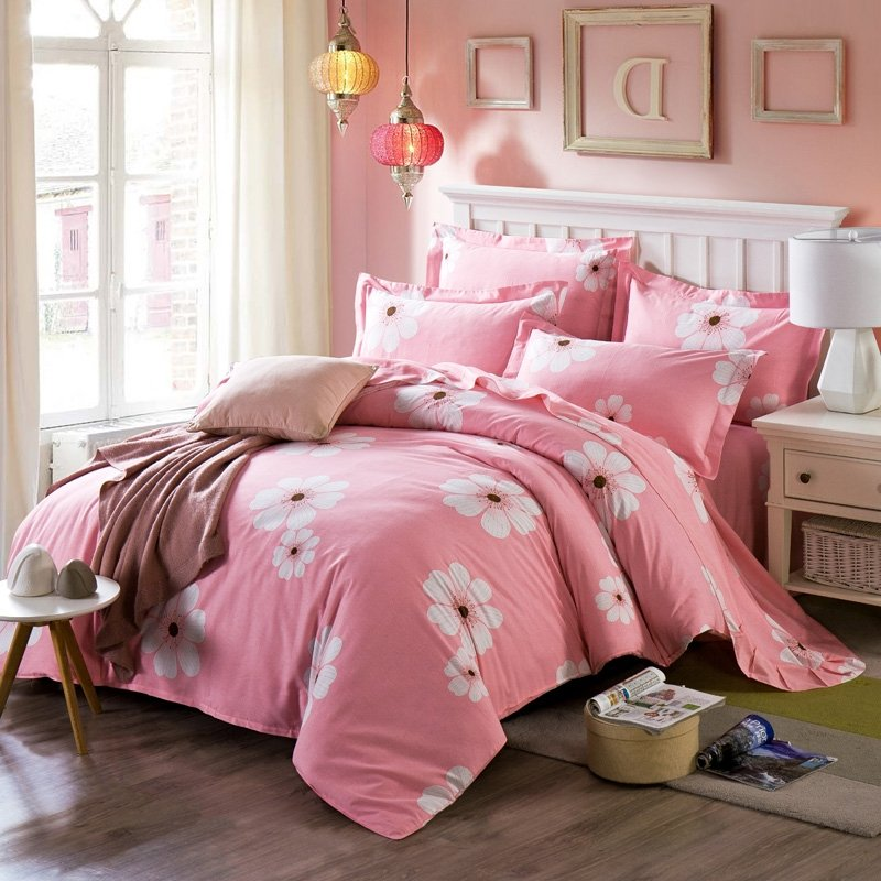 Girls Coral Pink and White Cherry Blossoms Print Pastel Style Oriental Style Elegant 100% Brushed Cotton Full, Queen Size Bedding Sets