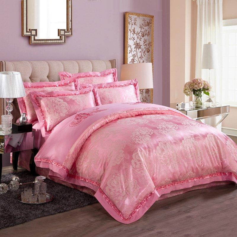 Luxury Jacquard Design Girls Pink Flower Pattern Elegant Embroidered Design Satin Fabric Full, Queen Size Bedding Sets