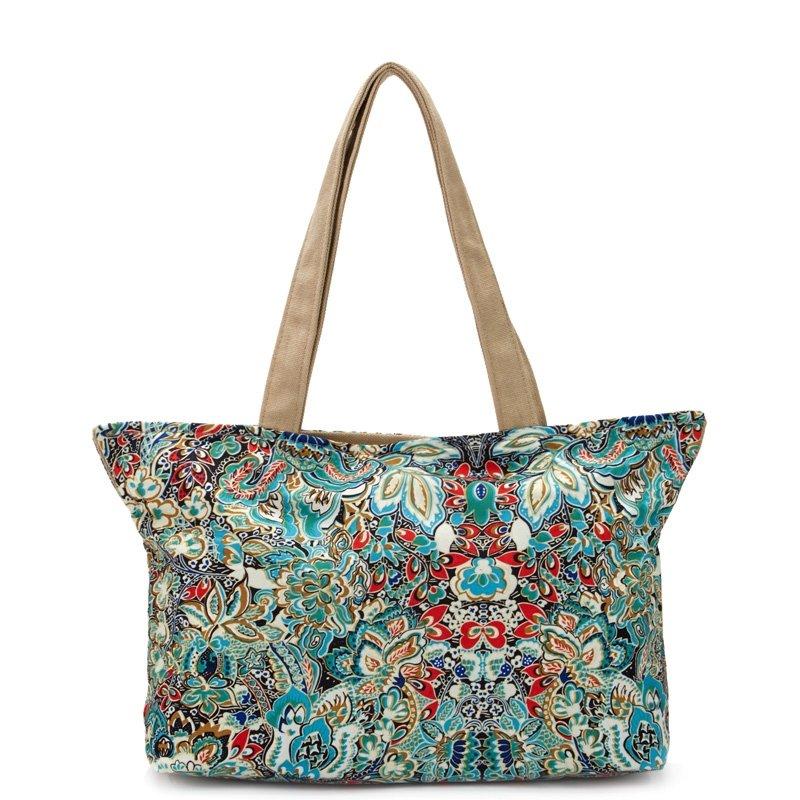 High Fashion Retro Canvas Elegant Women Casual Tote Bohemian Colorful Western Floral Print Korean Style Zipper Handle Shoulder Bag