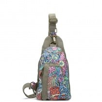 Vintage Durable Canvas Casual Girls Crossbody Sling Chest Bag Colorful Bohemian Floral Korean Style Travel Hiking Cycling Small Bosom Bag