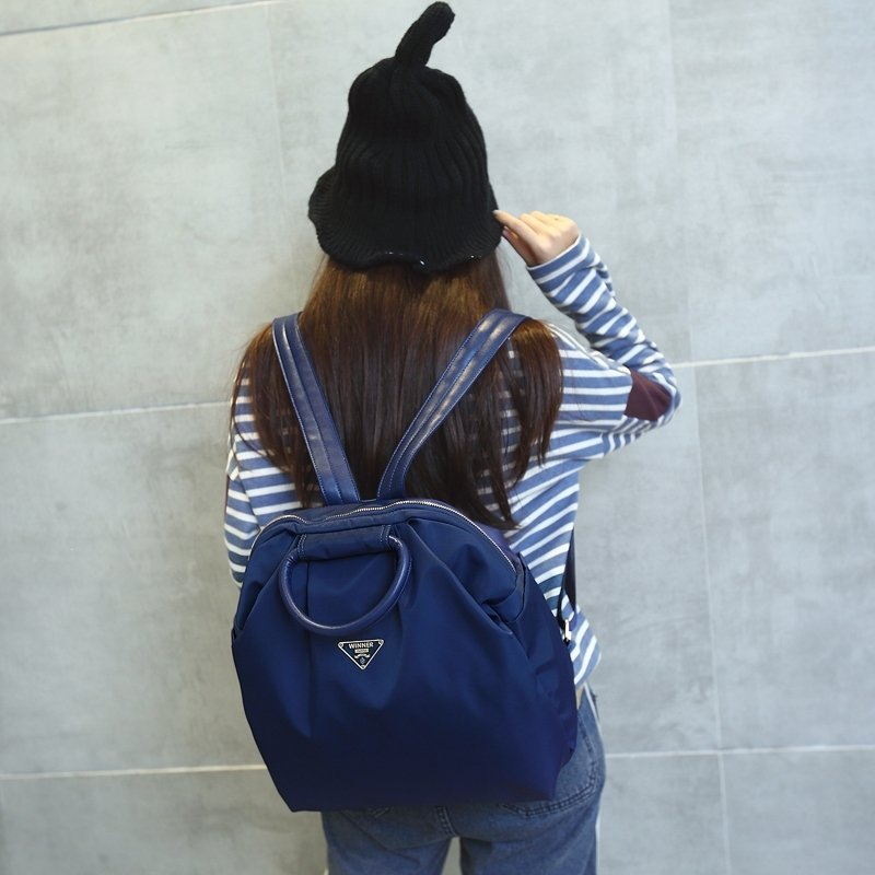 Water-proof Solid Cobalt Blue Foldable Oxford Girly Girls Preppy School Book Bag Luxury Sequined Casual Hiking Travel Backpack