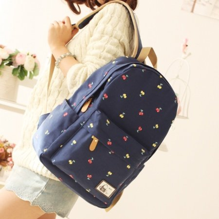 Stylish Dark Blue Canvas Durable Junior Preppy School Book Bag Vogue Cute Fruit Cherry Print Women Hiking Travel 14 Inch Laptop Backpack