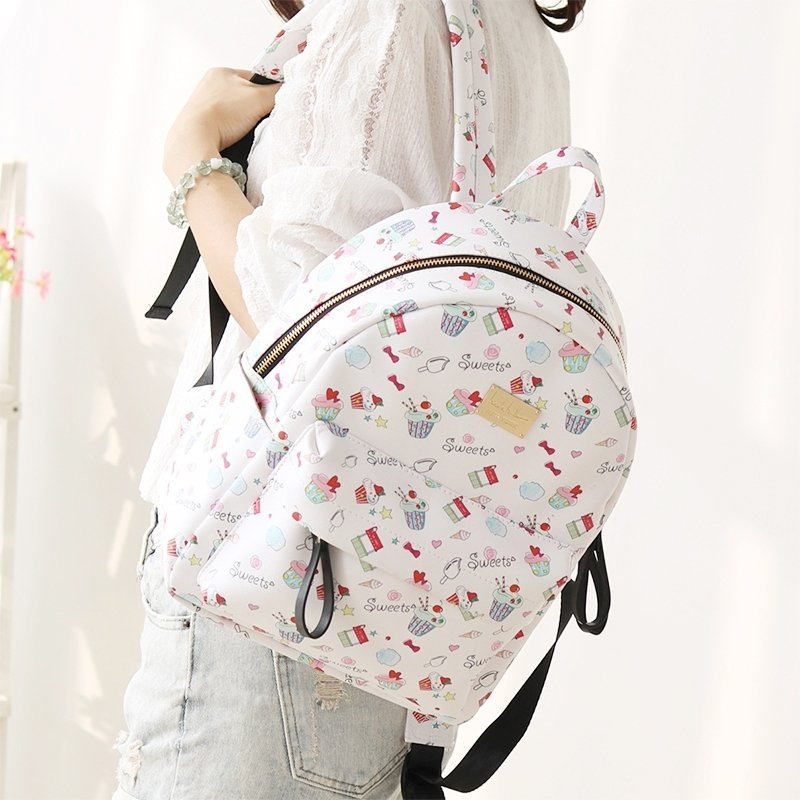 Durable White Faux Leather Junior Preppy Book Bag Colorful Girly Hip ...