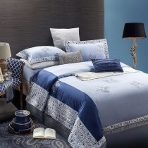 Royal Blue and Pale Blue Greek Inspired Modern Masculine Preppy Style Western Style 100% Cotton Damask Full, Queen Size Bedding Sets