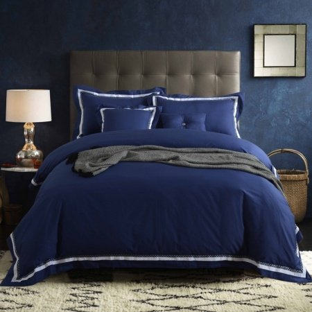 Midnight Blue and White Pure Colored Greek Inspired Masculine Style Shabby Chic 100% Cotton Damask Full, Queen Size Bedding Sets