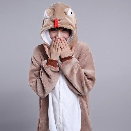Dark Khaki Snake Animal Anime Cartoon Cosplay Rompers Onesies Hooded Halloween Christmas Costume Unisex Polyester Winter Pajamas