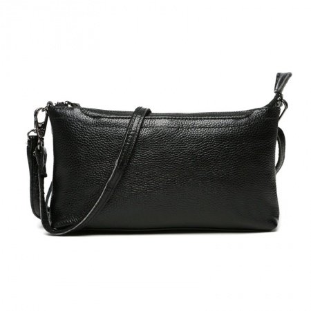 Gorgeous Plain Black Genuine Cowhide Leather Women Evening Clutch Hipster Sewing Pattern Zipper Casual Party Crossbody Shoulder Bag
