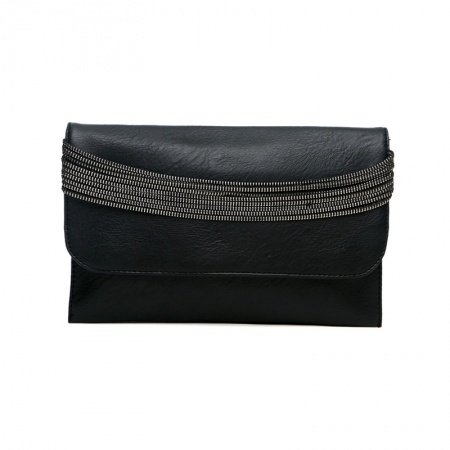 Vogue Durable Black Faux Leather Lady Casual Evening Party Flap Clutch Boutique Sewing Pattern Magnet Buckle Crossbody Shoulder Bag