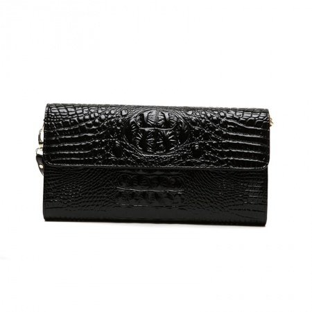 Trend Black Genuine Cowhide Leather Lady Casual Party Envelope Evening Clutch Durable Gorgeous Embossed Crocodile Small Flap Wristlet
