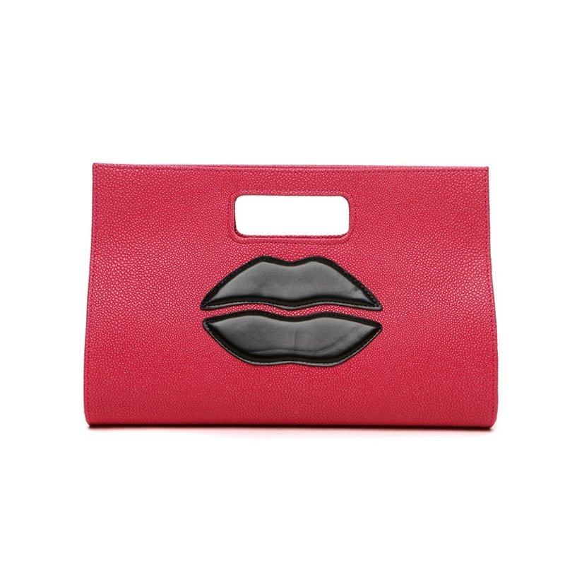 Personalized Rose Red Faux Leather Girls Casual Party Evening Clutch Luxury Sewing Pattern Stylish Lip Pattern Shoulder Tote Bag