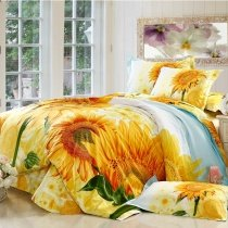 Orange Yellow and Green Bright Colorful Sunflower Print Country Chic Garden Images Natural 100% Organic Cotton Bedding Sets