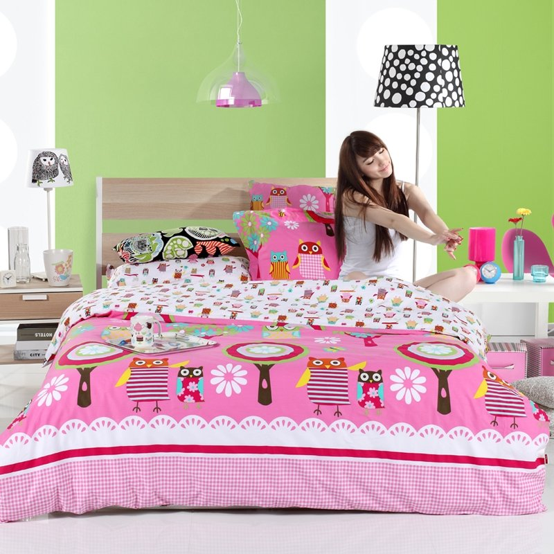 Red Pink and White Retro Night Owl Print Wild Animal Themed Full, Queen Size 100% Cotton Girls Bedding Sets for Kids