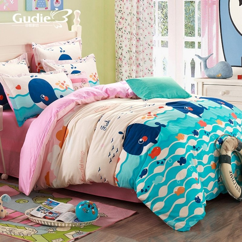 Navy Blue Aqua Blue and Pink Ocean Scene Whale and Fish Print Funky Kids 100% Cotton Twin, Full Size Bedding Sets